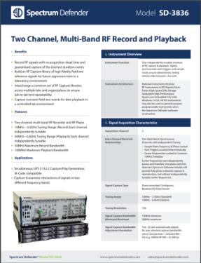 the Spectrum Defender SD-3836 data sheet